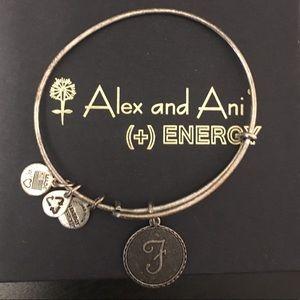 Alex and Ani silver letter F bracelet
